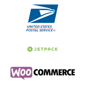 logos for usps, jetpack, and woocommerce, used in article Pull USPS Shipping rates in WooCommerce for free